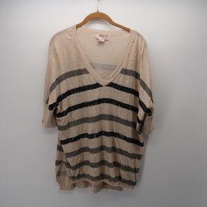 Love 21 V-Neck Striped Embellished Top Size M